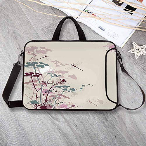 """Petal Dragonfly - Dragonfly Waterproof Neoprene Laptop Bag,Plants and Petals with Dragonfly Soft Color Design with Grunge Effects Vintage Style Laptop Bag for Business Casual or School,12.6""""L x 9.4""""W x 0.8""""H"""