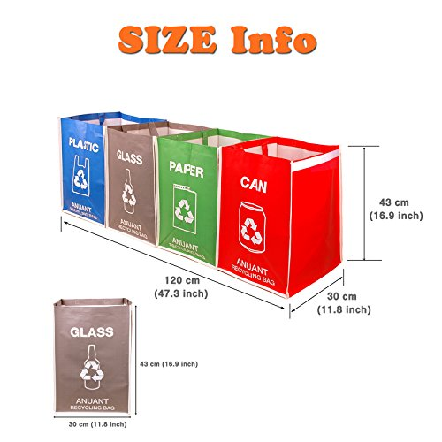 Separate Recycling Waste Bin Bags for Kitchen Office in Home - Recycle Garbage Trash Sorting Bins Organizer Waterproof Baskets Compartment Container Big Size 4 Bags Set by ANUANT (Image #6)