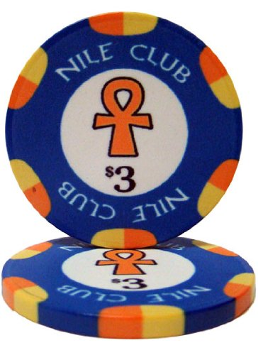 - 25 $3 Nile Club 10 Gram Ceramic Casino Quality Poker Chips
