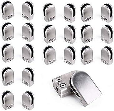 Abrazadera de Vidrio, Abrazadera de Acero Inoxidable de Vidrio para Escalera Barandilla, Abrazadera de Cristal (6-8mm 24pcs): Amazon.es: Bricolaje y herramientas