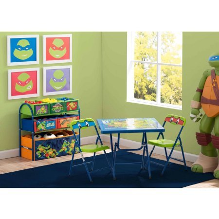 Delta Children Nickelodeon Teenage Mutant Ninja Turtles Playroom Solution Set (Table & Chair Set + Metal Multi-Bin Toy Organizer)