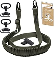 HuaQue 2-Point Rifle Sling with 2 Pack Swivel Mounts, Paracord Gun Sling with Adjustable Length Strap, Metal S