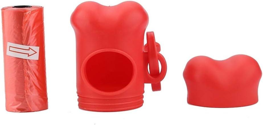 Rojo Rockyin 20 Rolls del Animal dom/éstico de pl/ástico Limpio de Basura Waste Bolsas con Forma de Hueso Bolsa dispensador Titular