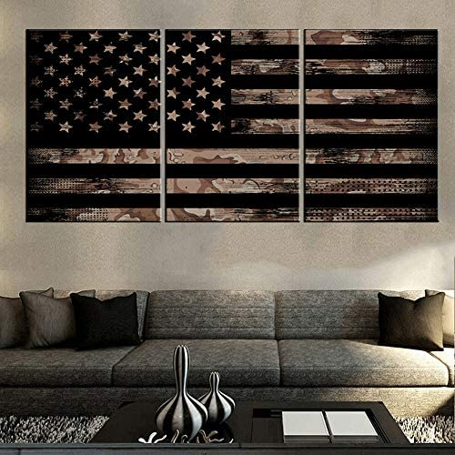 House Decorations Living Room Native American Flag Pictures Thin Black Line Artwork Patriotic Paintings 3 Panel Prints on Canvas Vintage Wall Art Framed Gallery-Wrapped Ready to Hang 60''Wx28''H