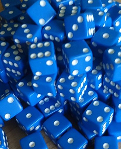 Custom & Unique {Standard Medium 16mm} 100 Ct Bulk Lot Pack Set of 6 Sided [D6] Square Cube Shape Playing & Game Dice Made of Plastic w/ Classy Board Game Design [Blue & White Colored] by mySimple Products