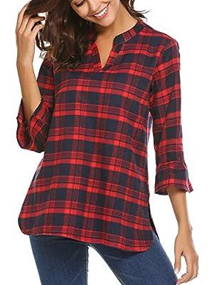BEAUTEINE Plaid Shirts for Women V Neck Bell Sleeve Split Hem Blouse Top