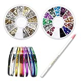 Sinsun Professional Nail Art Tape Line And Rhinestones Nail Decoration Sets, 30pcs Colors Rolls Striping Tape Line Nail Art Decoration Stickers, 2 Manicure Nail Art Decorations Rhinestone Wheel Set