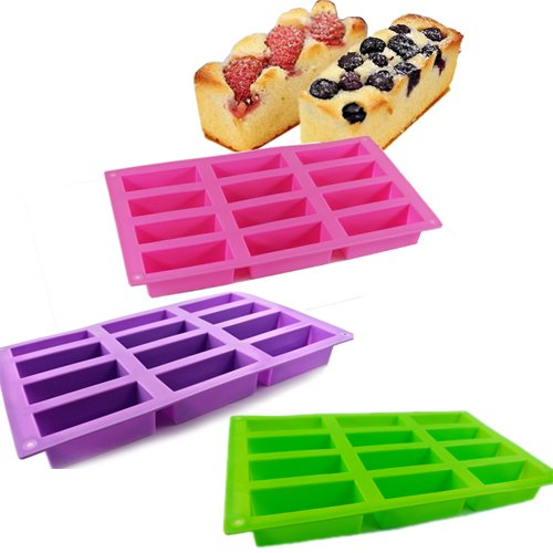 New 12 Cell Pink Purple Green Silicone Mould Sponge Finger Cake Bar Bakeware Mold Baking Tray