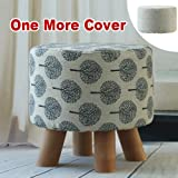 Sino Banyan Feet Stool with 1 More Cover,Soft Quick Detachable Cushion,Beige & Tree