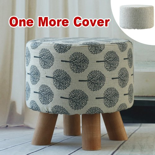 Sino Banyan Feet Stool with 1 More Cover,Soft Quick Detachable Cushion,Joker Pattern,Beige & (Outdoor Reclining Ottoman)