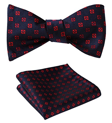 - SetSense Men's Floral Jacquard Wedding Party Self Bow Tie Pocket Square Set Red / Blue