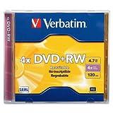Wholesale CASE of 25 - Verbatim 4.7GB Branded DVD+RW Rewritable -DVD+RW, w/ Jewel Case, 1x-4x Recording Speed, 4.7GB
