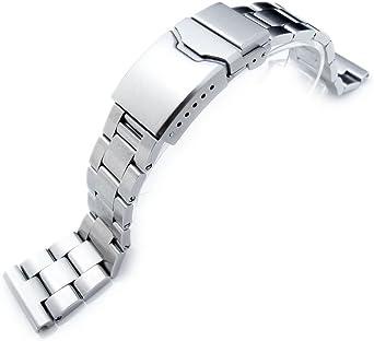 20 mm Super Oyster Bracelet Montre Droite Fin Lug, chanfrein Fermoir avec Bouton