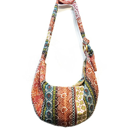 KARRESLY Large Bohemian Hippie Thai Top Zip Handmade Hobo Sling Crossbody Bag Purse Paisley Print with Adjustable Strap(3-511) by KARRESLY