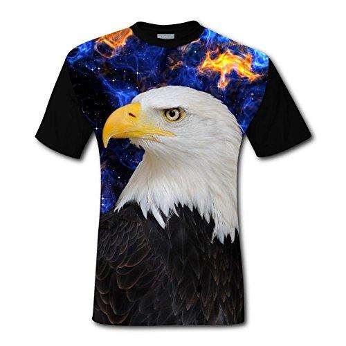 Mens Cool Bald Eagle Portrait Casual T-Shirt Short ()