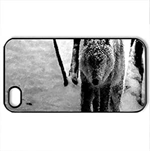 Black And White Wolf - Case Cover for iPhone 4 and 4s (Dogs Series, Watercolor style, Black)