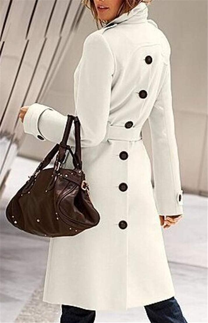 Fllay Womens Back Slit Belted Wool Single-Breasted Trench Pea Coat Jackets