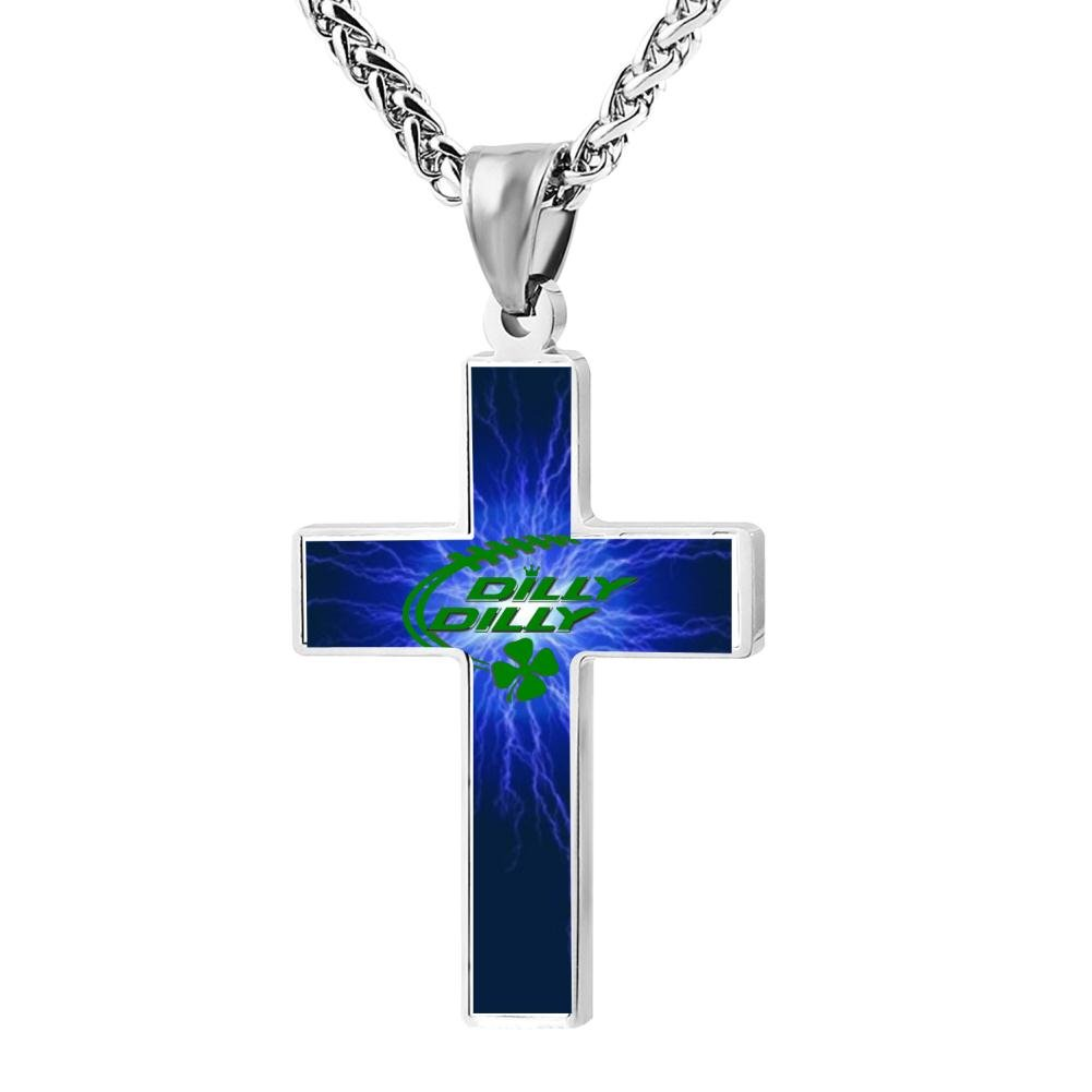 Fashion Dilly Dilly St. Patrick's Day Christian Cross Necklace Religious Jewelry Pendant