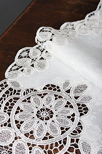 Xia Home Fashions XD17190 Antebella Lace Embroidered Cutwork Table Runner, 15 by 108-Inch, White by Xia Home Fashions (Image #1)