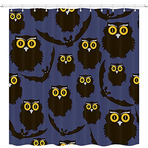 Vintage Halloween Shower Curtains, Gothic Halloween Animals with Owls and Bats for Trick or Treat, Mildew Resistant Fabric Shower Curtain, Bathroom Accessory Sets with Stainless Steel Hooks, -