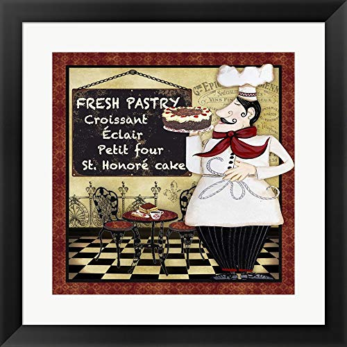 Bistro Chef - B by Jean Plout Framed Art Print Wall Picture, Flat Black Frame, 20 x 20 inches