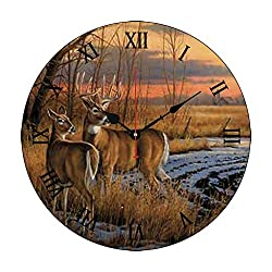 Whitetail Deer in Field Winter Season Sunset Wood Clock Battery Operated Clock Wall Art Decorations 12 Inches