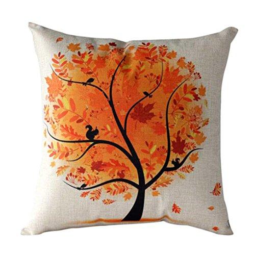 Pillow Case,JUNKE Rural Fresh Cartoon Flower Tree Pillow Case Sofa Waist Throw Cushion Cover Home Decor (Orange)