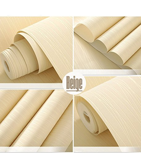 N.SunForest Beige Modern Wire Drawing 3D Textured Self-Adhesive Peel and Stick Non-Woven Fabric Wallpaper Home Living Room Bedroom Baby Nursery Wall Decor Art Murals - 21 Inch(W) x197 Inch(L)