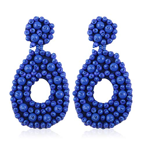 Statement Beaded Hoop Earrings for Women Girls Handmade Bohemian Circle Drop Lightweight Fashion Vacation Studs Ear Jewelry Accessory Gift for Sister Friend with Gushion Present Box GUE127 Royal Blue