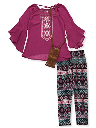 RMLA Big Girls' 2-Piece Leggings Set Outfit with Purse - Berry, (Suede Outfit)