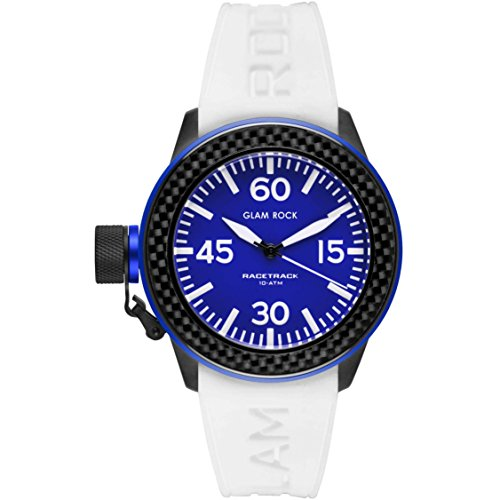 Glam Rock Unisex Racetrack 40mm White Silicone Band IP Steel Case Quartz Blue Dial Analog Watch GRT29000F