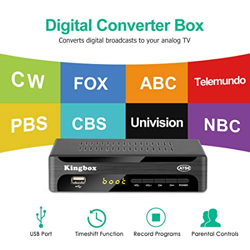 Kingbox Digital Converter Box for Analog TV, ATSC Tuner 1080P with Recording TV Shows, USB Multimedia Playback, and TV Tuner Function (2019 Version)
