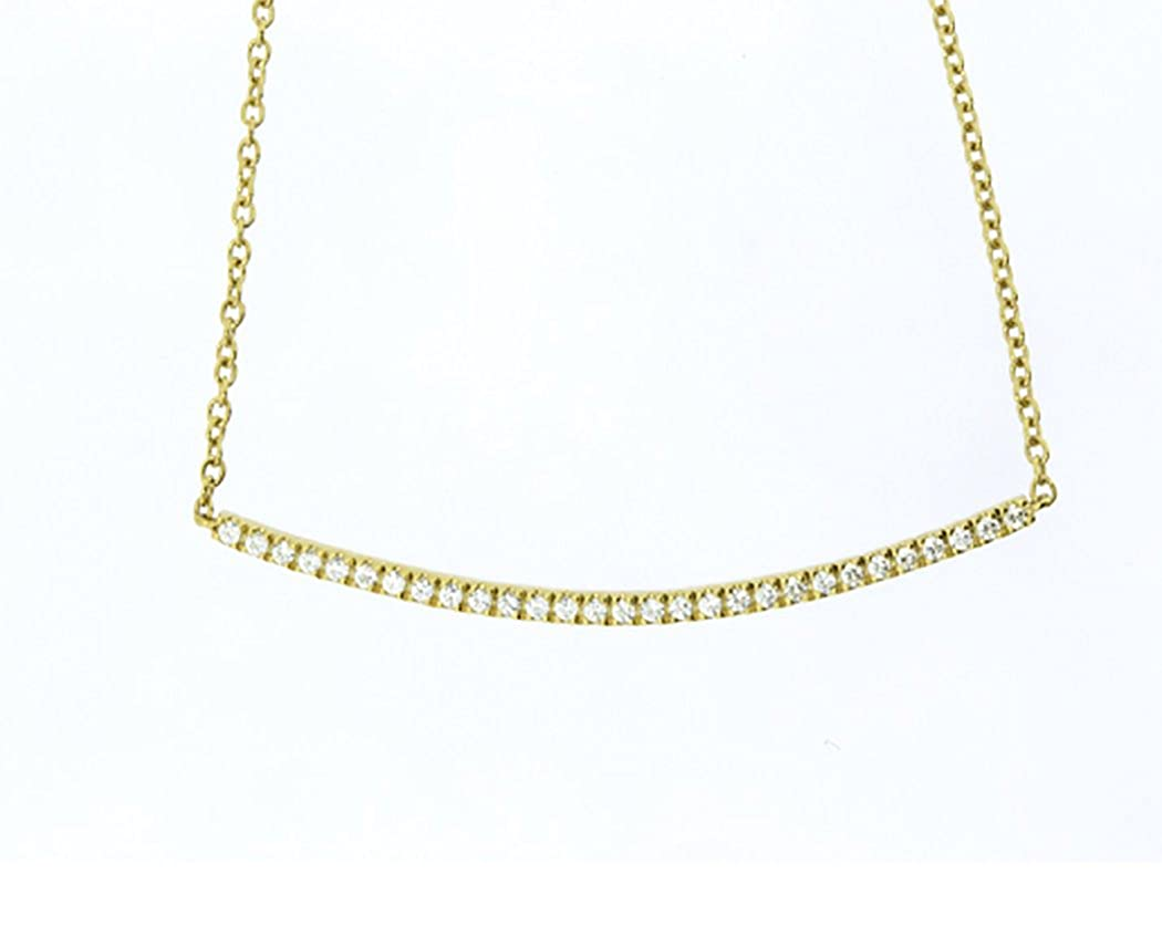 14K Yellow Gold Plated 17 Inch Solid Sterling Silver 1 1//2 Inch Bar Pendant Necklace IAAL
