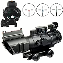 X-Aegis 4x32 Fixed Power Green/blue/red Illuminated Reticle Compact Rifle Scope with Fiber Optic Tactical Sight and Weaver Slots