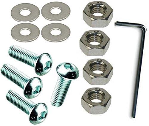 M 8 x 60 mm acero inoxidable A2 llave Allen de cabeza redonda 8 mm de cabeza tornillos de fijaci/ón tuercas y arandelas , 4 Pack