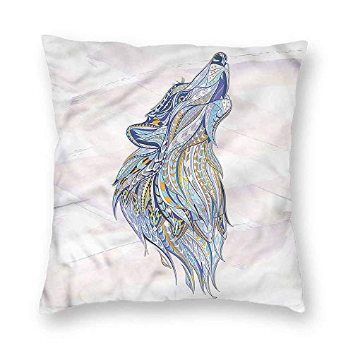 clayii Art Decorative Throw Pillow Covers Howling Wolf Portrait Tribal Hypoallergenic 14x14 Inch (Throw Wolf Uk Faux Fur)