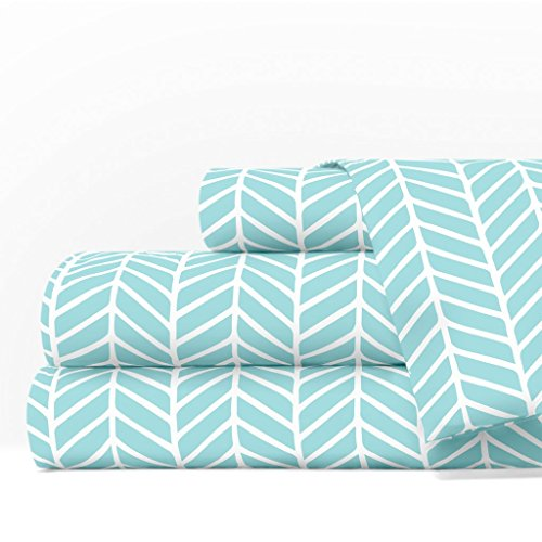 Egyptian Luxury 1600 Series Hotel Collection Herringbone Pattern Bed Sheet Set - Deep Pockets, Wrinkle and Fade Resistant, Hypoallergenic Sheet and Pillowcase Set - Queen - Aqua/White
