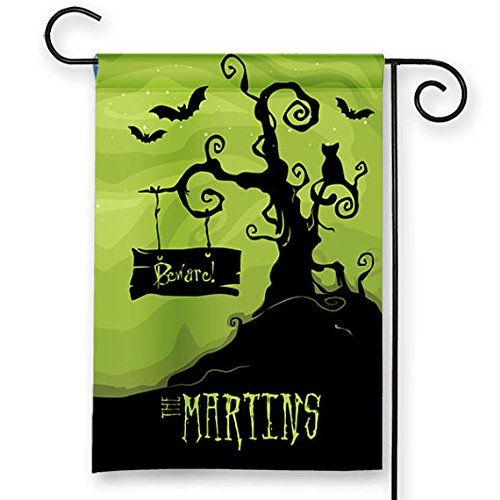 28 x 40 inch Happy Halloween Personalized Haunted Castle Scene Holiday Garden Flag Yard Sign Decor Decoration Custom Banner ()