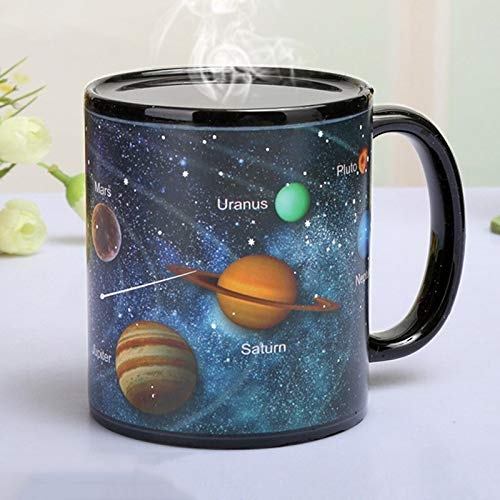 (New Ceramic Cups Changing Color | Milk Coffee Mugs | Friends Gifts Student Breakfast Cup | Star Solar System/Earth World Map)