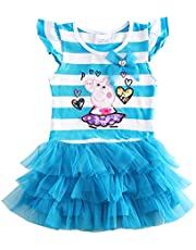 HKD80 Little Girls Summer Peppa Pig Lapel Rainbow Color Dress