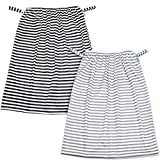 Teamoy (2 Pack) Reusable Pail Liner for Cloth Diaper/Dirty Diapers Wet Bag, Gray Strips+Black Strips