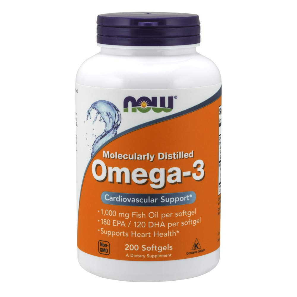 NOW Supplements, Omega-3, Molecularly Distilled, 200 Softgels
