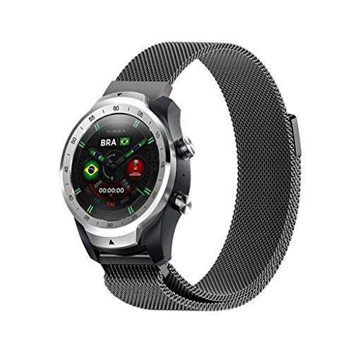 (Sodoop Replacement Metal Band Compatible for TicWatch Pro, Classics Women Men Milanese Loop Stainless Steel Magnetic Wristband Strap Compatible for TicWatch Pro Smartwatch)