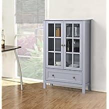 Homestar Furniture Z1510335G 2-Door/ 1-Drawer Glass Cabinet Grey
