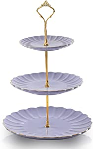 Sweejar 3 Tier Ceramic Cake Stand Wedding, Dessert Cupcake Stand for Tea Party Serving Platter