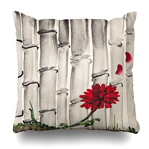 Pillow Training Throw (Ahawoso Decorative Throw Pillow Cover Watercolor Red Artistic Training Drawing Suibokuga Paints Nature Flower Parks Gray Bamboo Black Bloom Home Decor Pillowcase Square Size 18