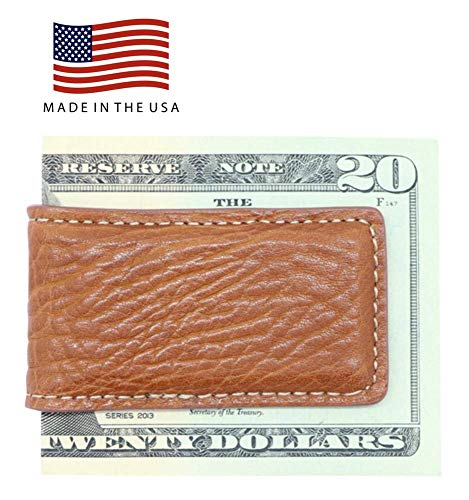 Cognac Tan Genuine Leather Magnetic Money Clip Money Holder - Arizona Bison Grain - Gift Box - Factory Direct - Made in USA by Real Leather Creations FBA272 ()