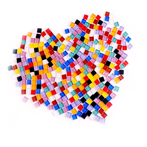 CCTVMTST 320 Gram/ 378 Pieces Assorted Colors Mosaic Tiles Stained Glass for Home Decoration Crafts Supply, 1x1cm