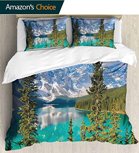 (Landscape Full/Queen Size Quilt Bedding Set,Moraine Lake Rocky Mountains Canada Summer Forest Tall Fresh Trees Image 3 Piece Bedding Quilt Coverlets - 100% Cotton Bed Quilts Coverlet 79