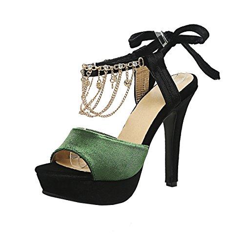 Suede Toe Talons Cheville Mode Haut Femmes et Peep Aiguilles Strass Laniere en Sandales et avec UH à Classique Vert Plateforme de ZSCwfZq